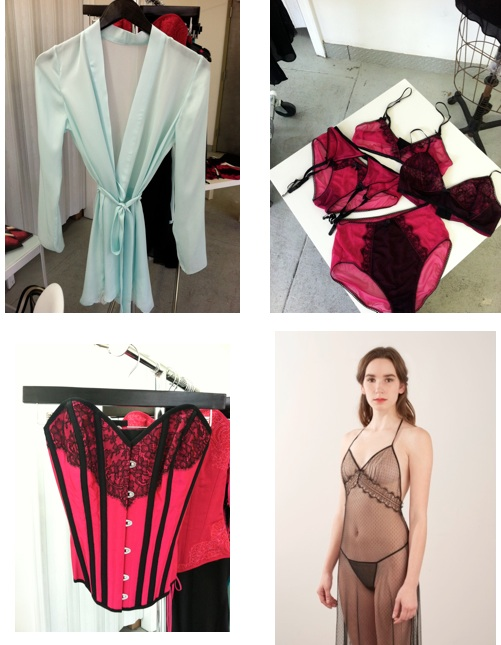 Top left: Emilie silk kimono Top Right: Natalie mesh bralette, garter belt, and panty Bottom Left: Faye overbust corset Bottom Right: Margot sheer gown
