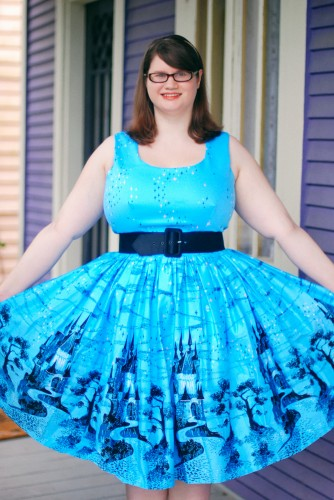Castle Print Aurora Dress by Pinup Girl Clothing
