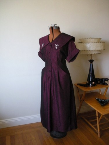 Burgundy Cocktail Dress with Rhinestone Clips