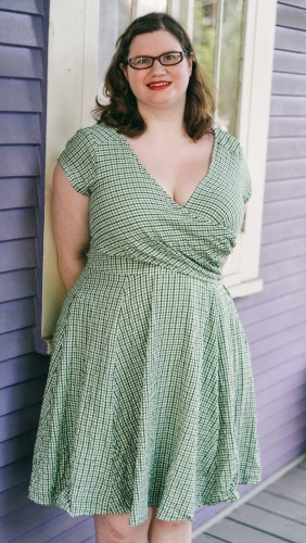 Green and white seersucker dress by eShakti