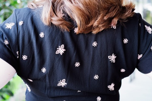 1940's Black Rayon Butterfly Dress from EmilysVintageVision