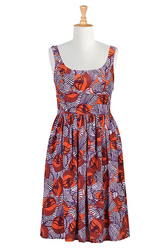 Tulip Print Crepe Dress by eShakti