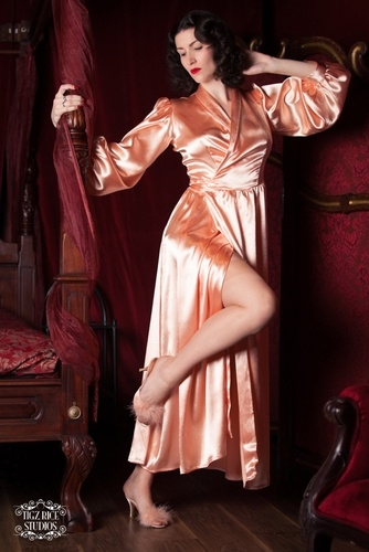 Peach Satin Robe by Bettie Blues Loungerie