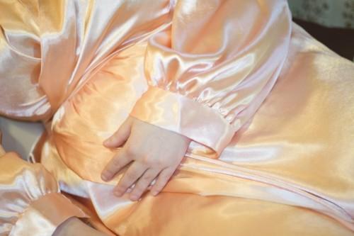 Peach Satin Robe by Betty Blues Loungerie