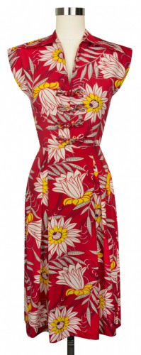 Day Dress in Red Waterlilies Print